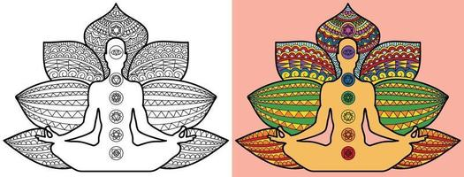 doodle page de livre de coloriage yoga méditation pour adultes et enfants. décoratif rond blanc et noir. modèles de thérapie anti-stress orientaux. enchevêtrement zen abstrait. illustration vectorielle de yoga méditation. vecteur