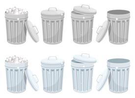 poubelle métallique peut vector design isolé sur fond blanc
