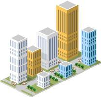 isométrique dans une grande ville avec des rues, des gratte-ciel, des voitures et des arbres. vecteur