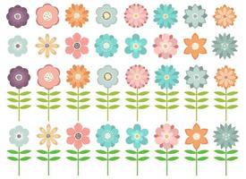 belles fleurs pack vector illustration design ensemble isolé sur fond blanc
