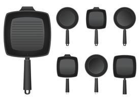 illustration de conception de vecteur de poêle à frire isolé sur fond blanc