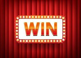 gagner, texte avec cadre d'ampoules électriques sur fond de rideau rouge. illustration vectorielle eps