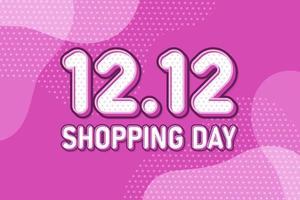 12.12 jour de magasinage, conception pastel de bannière de marketing de texte. illustration vectorielle