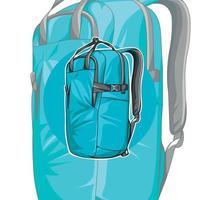 sac à dos bleu. le design inhabituel du sac à dos. accessoire vecteur