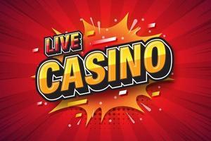 casino en direct, bulle de dialogue comique d'expression de police pop art. illustration vectorielle