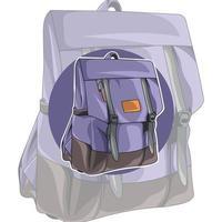 sac à dos violet. conception inhabituelle du sac. accessoire vecteur