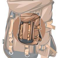 sac à dos marron inhabituel. le design inhabituel du sac à dos. accessoire vecteur