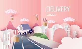 caricature de van de courrier de papier art dans le service de livraison de la ville et achats en ligne art et illustration vectorielle vecteur