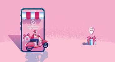 concept d'achat en ligne de la Saint-Valentin, application de site Web ou de téléphonie mobile, marketing et marketing numérique. promotion smartphone, livraison rapide. illustration vectorielle design plat shopping 24h / 24 vecteur