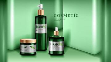 produits cosmétiques ou de soin de la peau. maquette de bouteille verte et fond de mur vert. illustration vectorielle.