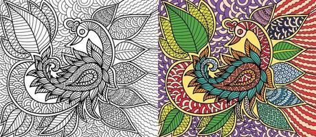 Doodle page de livre de coloriage décoratif paon pour adultes et enfants. zentangle abstrait. illustration vectorielle. vecteur