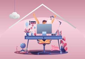 travail à domicile, jeune femme pigistes travaillant sur des ordinateurs portables à la maison. personnes à la maison en quarantaine. vue arrière de fond rose, restant à la maison illustration vectorielle. caractère design plat vecteur