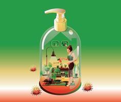 rester au concept de quarantaine à domicile. coronavirus, jeune jardinière arrosant les plantes, à l'intérieur. dans une maison transformer en bouteille d'alcool gel sur fond vert avec de nombreux virus entourés. vecteur