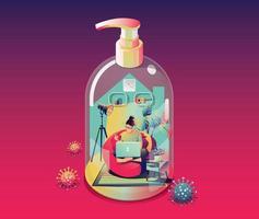 rester au concept de quarantaine à domicile. coronavirus, femme indépendante travaillant sur un ordinateur portable, à l'intérieur. dans une maison se transforme en bouteille d'alcool gel sur fond violet avec de nombreux virus entourés. vecteur