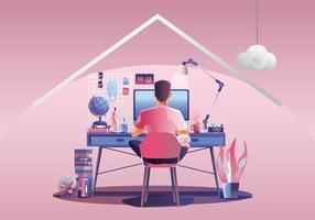 travail à domicile, jeune homme pigistes travaillant sur des ordinateurs portables à la maison. personnes à la maison en quarantaine. vue arrière de fond rose, restant à la maison illustration vectorielle. caractère design plat vecteur
