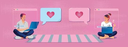 jeune couple envoi de messages d'amour Saint Valentin en forme de coeur ce ton rose romantique et mignon semble bon pour dire l'amour, utiliser un smartphone ou une illustration de design plat de vecteur d'écran de périphérique.