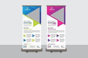 modèle de vecteur de conception abstraite coloré roll up banner