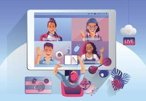 atterrissage de vidéoconférence. personnes sur écran d'ordinateur prenant avec des collègues. visioconférence et espace de travail de réunion en ligne page vectorielle homme et femme. auto-quarantaine pour éviter le vecteur covid -19