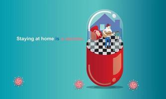 distance sociale et concept de séjour à la maison. quarantaine, les gens gardent leurs distances pour les risques d'infection et les maladies homme jouant de la guitare, comme dans une capsule. plaisir à la maison. auto-isolation du coronavirus.vector vecteur