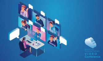 Les hommes d'affaires utilisent l'atterrissage de vidéoconférence de travail vue de dessus les gens sur l'écran de la fenêtre prenant avec des collègues. visioconférence de travail à distance et espace de travail de réunion en ligne page homme femme vecteur d'apprentissage