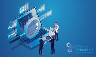 technologie de recherche de réseau Internet, les gens d'affaires utilisent la loupe pour rechercher sur des ordinateurs portables, l'analyse de données pour des solutions marketing ou la performance financière. concept de statistiques conception isométrique vecteur