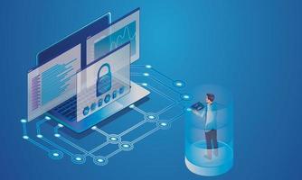 Programmeur informatique testant le dispositif numérique de la salle des serveurs du système de sécurité, la communication de stockage en nuage avec les dispositifs en ligne du réseau dans une base de données sur les services en nuage, le concept isométrique de vecteur de technologie