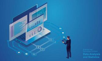 analyse de données et concept de statistiques. programmeur isométrique travaillant dans un bureau de société de développement de logiciels fournisseurs créatifs sur des écrans d'ordinateur virtuel pour des solutions marketing vecteur de conception plate