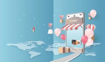 papier art achats en ligne sur smartphone et nouveau fond rose de promotion de vente d'achat pour le commerce électronique du marché des bannières vecteur