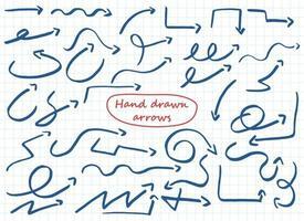flèche dessinée à la main définie illustration de conception de vecteur isolé sur fond blanc
