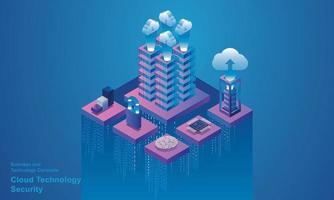 technologie informatique salle de serveur dispositif numérique concept isométrique stockage en nuage communication avec le réseau dispositifs en ligne télécharge des données d'information dans une base de données sur des services en nuage vecteur