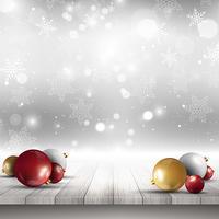 Boules de Noël sur le pont en bois vecteur