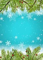 Fond de Noël avec des flocons de neige et des branches d'arbres de pin