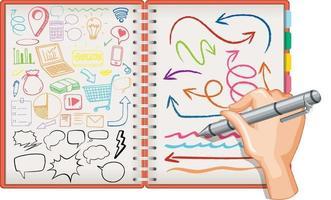 dessin à la main élément de médias sociaux doodle sur ordinateur portable vecteur