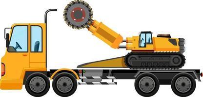 Dépanneuse transportant une voiture de construction isolé sur fond blanc