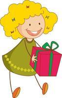 un enfant de griffonnage tenant un personnage de dessin animé de boîte cadeau isolé