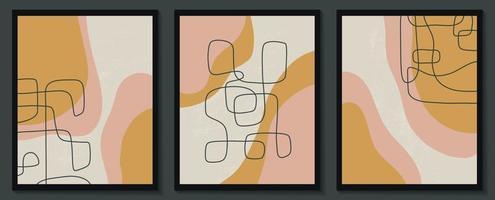 ensemble de modèles élégants avec des formes abstraites organiques et une ligne aux couleurs nude. fond pastel dans un style minimaliste. illustration vectorielle contemporaine vecteur