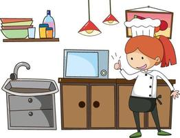 petit chef avec des équipements de cuisine sur fond blanc