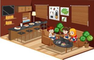 enfants faisant leurs devoirs dans le salon vecteur
