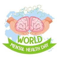 bannière de la journée mondiale de la santé mentale ou logo isolé sur fond blanc