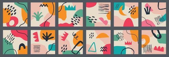 grand ensemble de divers milieux abstraits géométriques vectoriels. diverses formes, lignes, taches, points, objets de griffonnage. modèles dessinés à la main. icônes rondes pour les histoires de médias sociaux vecteur