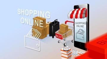 achats en ligne, smartphone et panier avec des produits sur fond bleu