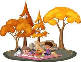enfants faisant pique-nique dans le parc avec de nombreux arbres d'automne vecteur