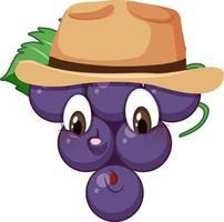 personnage de dessin animé de raisin avec expression faciale vecteur