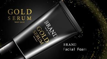 crème de soin de peau de paquet de bouteille cosmétique de luxe, affiche de produit cosmétique de beauté, emballage noir de luxe et fond d'étincelle de couleur noir et or vecteur
