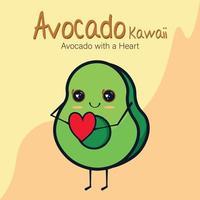 avocat kawaii, avec un coeur vecteur
