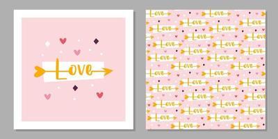 vacances de la Saint-Valentin. conception de cartes de voeux d'amour. flèche de Cupidon avec lettrage d'amour. relation, émotion, passion. modèle sans couture, texture, papier, emballage. vecteur