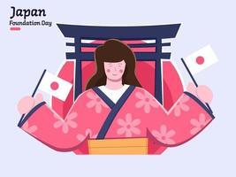 bonne journée de la fondation du japon le 11 février vecteur
