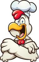 poulet chef avec bras croisés vecteur