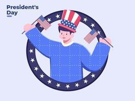plat illustration personne célébrant la fête du président vecteur