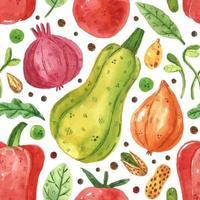 chou, oignon, légumes verts, pois, haricots, poivrons, feuilles, tomates. conception d'aquarelle. dessiné à la main. marché des légumes. modèle sans couture, texture, arrière-plan. papier d'emballage. vecteur